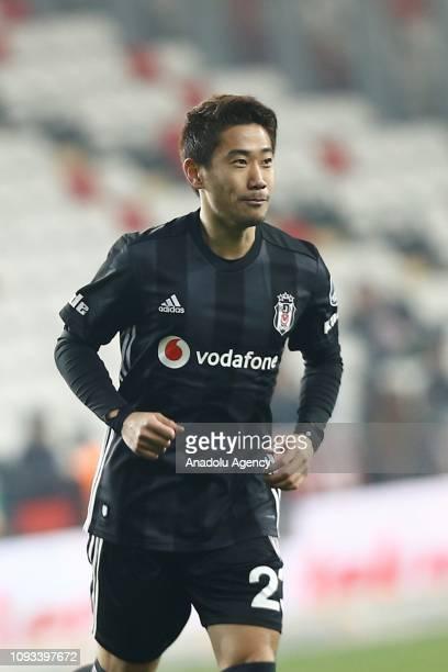 Shinji Kagawa of Besiktas celebrates after scoring a goal during Turkish Super Lig week 20 soccer match between Antalyaspor and Besiktas at Antalya...