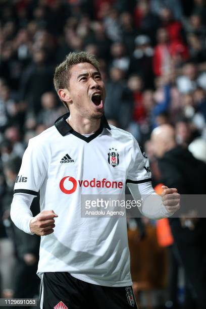 Shinji Kagawa of Besiktas celebrates after scoring a goal during Turkish Super Lig soccer match between Besiktas and Atiker Konyaspor at Vodafone...