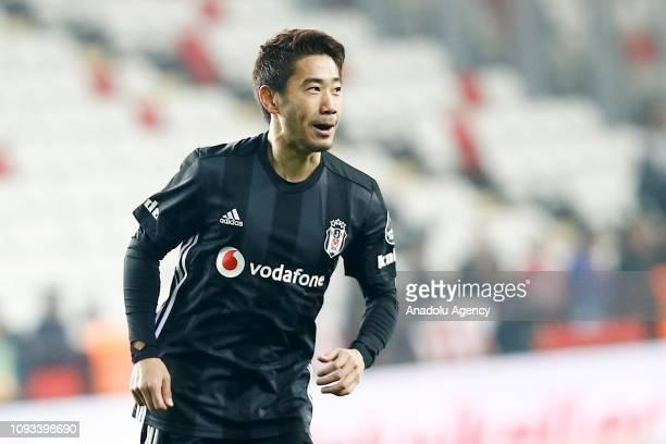 Shinji Kagawa of Besiktas celebrates his goal during Turkish Super Lig week 20 soccer match between Antalyaspor and Besiktas at Antalya Stadium on...