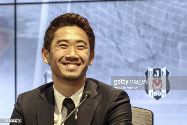 Shinji Kagawa of Besiktas gestures as he speaks to the press during the signing ceremony at Vodafone Park in Istanbul Turkey on February 5 2019