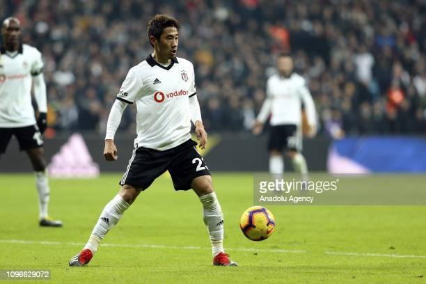 Shinji Kagawa of Besiktas in action during Turkish Super Lig match between Besiktas and Bursaspor at the Vodafone Park in Istanbul Turkey on February...