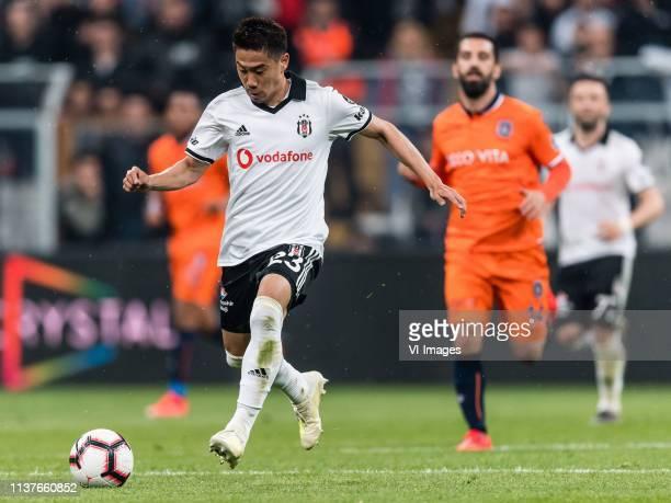 Shinji Kagawa of Besiktas JK Arda Turan of Istanbul Medipol Basaksehir FK during the Turkish Spor Toto Super Lig football match between Besiktas JK...