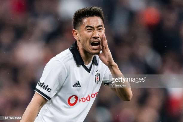 Shinji Kagawa of Besiktas JK during the Turkish Spor Toto Super Lig football match between Besiktas JK and Medipol Basaksehir FK on April 13 2019 at...