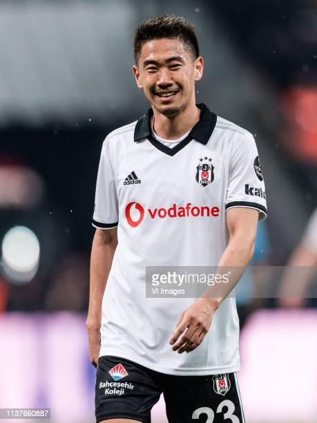 Shinji Kagawa of Besiktas JK during the Turkish Spor Toto Super Lig football match between Besiktas JK and Medipol Basaksehir FK on April 13, 2019 at...