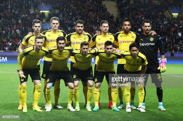 Shinji Kagawa of Borussia Dortmund and team mates line up before the UEFA Champions League Quarter Final second leg match between AS Monaco and...