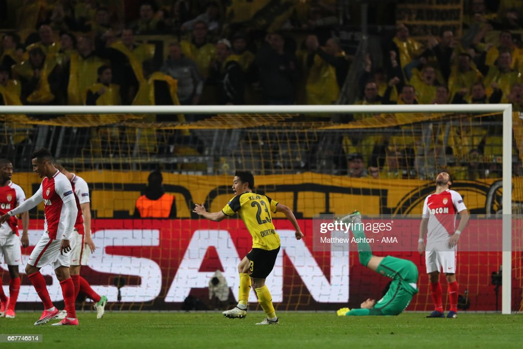 Shinji Kagawa of Borussia Dortmund celebrates after scoring a goal to make it 2-3 during the UEFA Champions League Quarter Final first leg match between Borussia Dortmund and AS Monaco at Signal Iduna Park on April 12, 2017 in Dortmund, Germany.