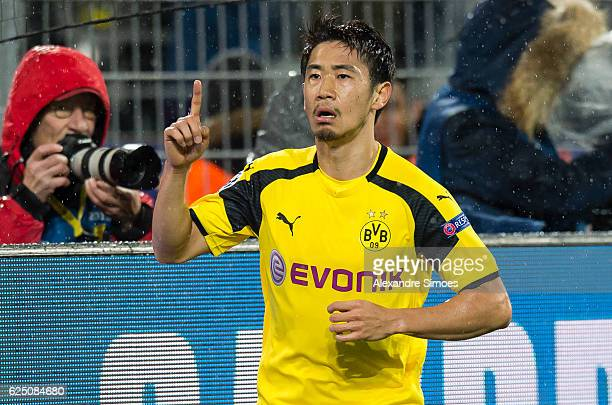 Shinji Kagawa of Borussia Dortmund celebrates after scoring the goal to the 11 during the UEFA Champions League First Qualifying Round 2nd Leg match...