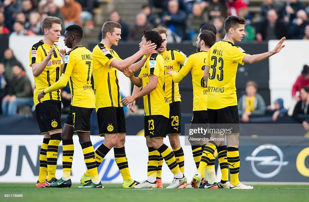 Shinji Kagawa of Borussia Dortmund cheers after scoring his team's 2nd goal during the friendly match between Borussia Dortmund v PSV Eindhoven - Friendly Match at Estadio Municipal La Linea de la Concepcion on January 7, 2017 in Cadiz, Spain.