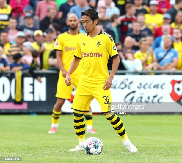 Shinji Kagawa of Borussia Dortmund controls the ball during the preseason friendly match between FC Schweinberg and Borussia Dortmund on July 12 2019...