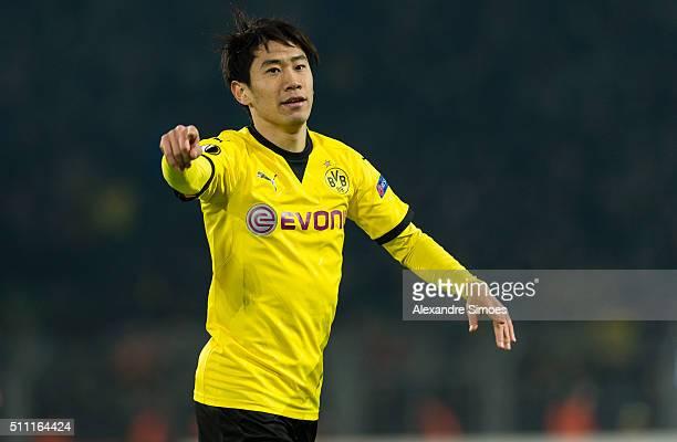 Shinji Kagawa of Borussia Dortmund during the UEFA Europa League Round of 32 First Leg match between Borussia Dortmund and FC Porto at Signal Iduna...