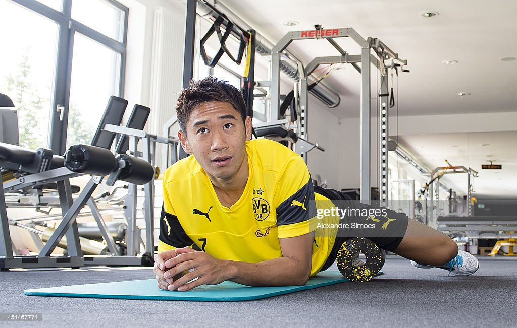 Shinji Kagawa of Borussia Dortmund in action during first training session for the club on September 01, 2014 in Dortmund, Germany.