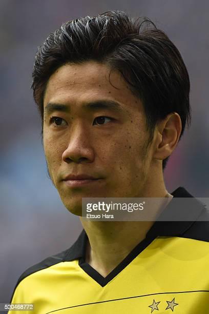 Shinji Kagawa of Borussia Dortmund in action during the Bundesliga match between FC Schalke 04 and Borussia Dortmund at VeltinsArena on April 10 2016...