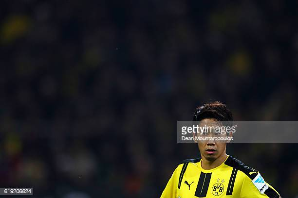 Shinji Kagawa of Borussia Dortmund in action during the Bundesliga match between Borussia Dortmund and FC Schalke 04 at Signal Iduna Park on October...