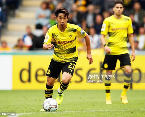 Shinji Kagawa of Borussia Dortmund in action during the DFB Cup match between 1 FC RielasingenArlen and Borussia Dortmund at SchwarzwaldStadion on...