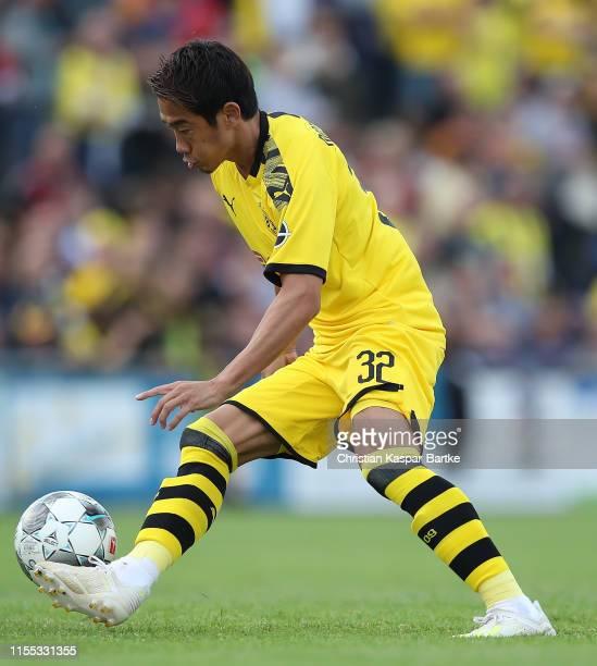 Shinji Kagawa of Borussia Dortmund in action during the preseason friendly match between FC Schweinberg and Borussia Dortmund on July 12 2019 in...