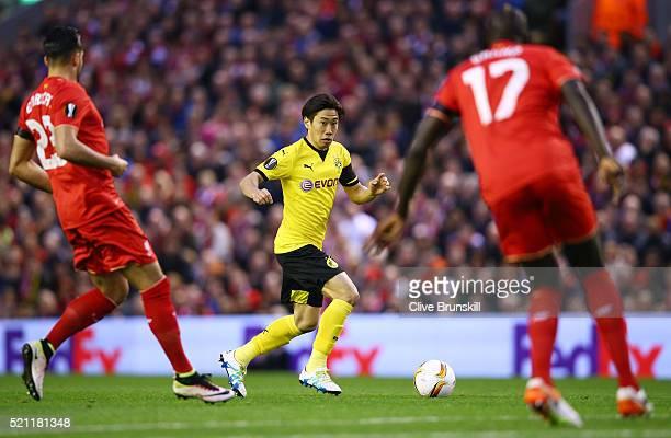 Shinji Kagawa of Borussia Dortmund in action during the UEFA Europa League quarter final second leg match between Liverpool and Borussia Dortmund at...