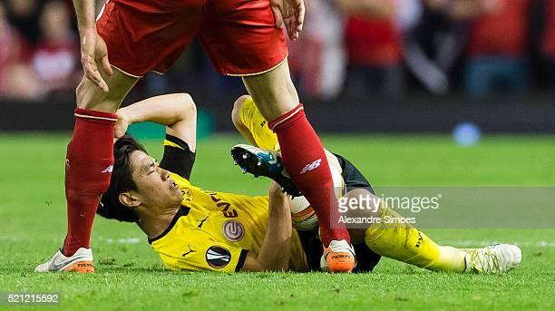 Shinji Kagawa of Borussia Dortmund in action during the UEFA Europa League Quarter Final Second Leg match between Liverpool FC and Borussia Dortmund...