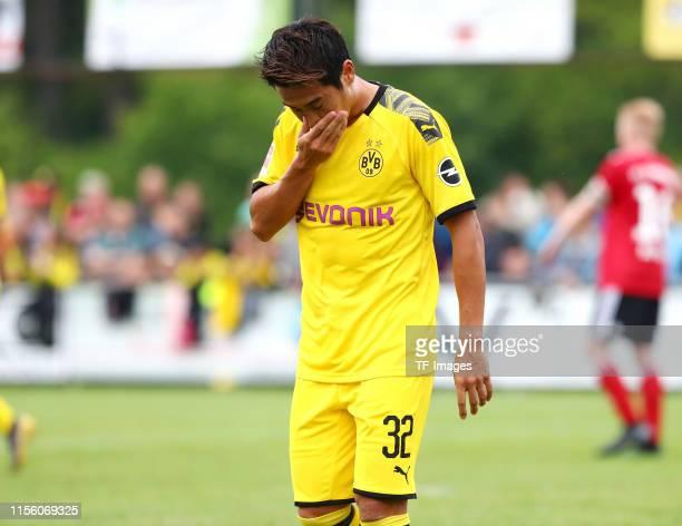 Shinji Kagawa of Borussia Dortmund looks dejected during the preseason friendly match between FC Schweinberg and Borussia Dortmund on July 12 2019 in...