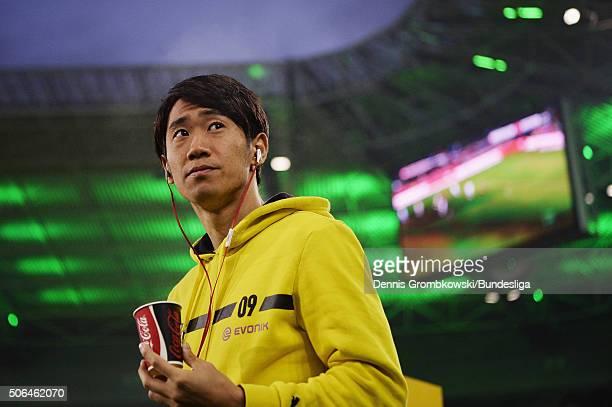 Shinji Kagawa of Borussia Dortmund looks on during the Bundesliga match between Borussia Moenchengladbach and Borussia Dortmund at BorussiaPark on...