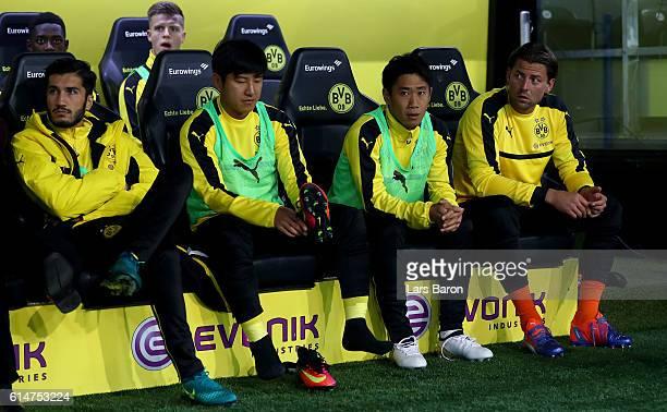 Shinji Kagawa of Borussia Dortmund looks on during the Bundesliga match between Borussia Dortmund and Hertha BSC at Signal Iduna Park on October 14...
