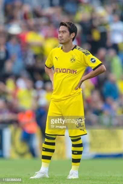 Shinji Kagawa of Borussia Dortmund looks on during the preseason friendly match between FC Schweinberg and Borussia Dortmund on July 12 2019 in...