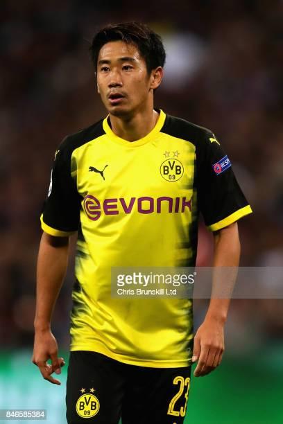 Shinji Kagawa of Borussia Dortmund looks on during the UEFA Champions League group H match between Tottenham Hotspur and Borussia Dortmund at Wembley...