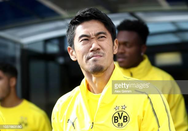 Shinji Kagawa of Borussia Dortmund looks on prior to the Bundesliga match between TSG 1899 Hoffenheim and Borussia Dortmund at Wirsol...