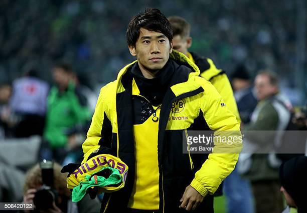 Shinji Kagawa of Borussia Dortmund looks on prior to the Bundesliga match between Borussia Moenchengladbach and Borussia Dortmund at BorussiaPark on...