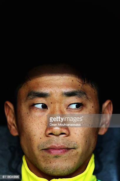 Shinji Kagawa of Borussia Dortmund looks on prior to the Bundesliga match between Bayer 04 Leverkusen and Borussia Dortmund at BayArena on October 1,...
