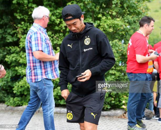 Shinji Kagawa of Borussia Dortmund looks on prior to the preseason friendly match between FC Schweinberg and Borussia Dortmund on July 12 2019 in...