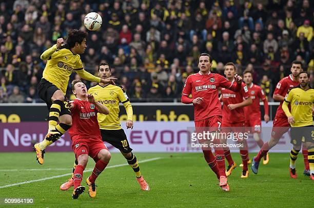 Shinji Kagawa of Borussia Dortmund misses a chance at goal during the Bundesliga match between Borussia Dortmund and Hannover 96 at Signal Iduna Park...