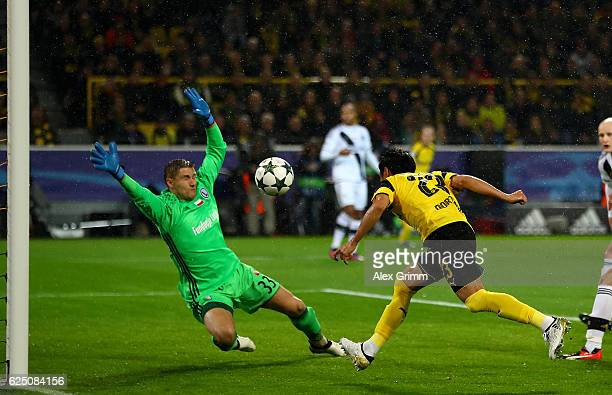 Shinji Kagawa of Borussia Dortmund scores his teams first goal during the UEFA Champions League Group F match between Borussia Dortmund and Legia...
