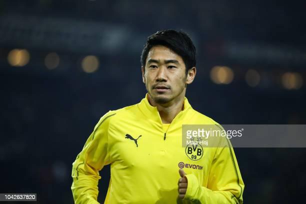 Shinji Kagawa of Borussia Dortmund warms up prior the Bundesliga match between Borussia Dortmund and 1. FC Nuernberg at Signal Iduna Park on...