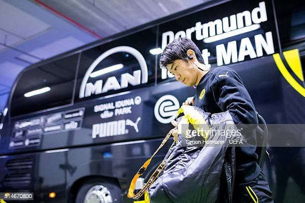 Shinji Kagawa of Dortmund arrives prior to the UEFA Europa League Round of 16 First Leg match between Borussia Dortmund and Tottenham Hotspur at...
