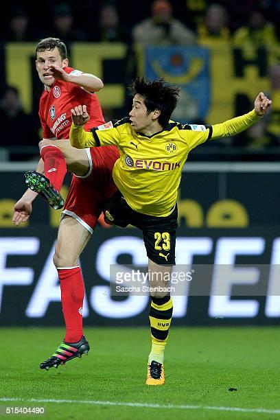 Shinji Kagawa of Dortmund battles for the ball during the Bundesliga match between Borussia Dortmund and 1 FSV Mainz 05 at Signal Iduna Park on March...