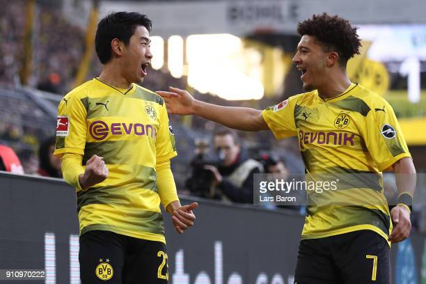 Shinji Kagawa of Dortmund celebrates after he scored a goal to make it 10 during the Bundesliga match between Borussia Dortmund and SportClub...
