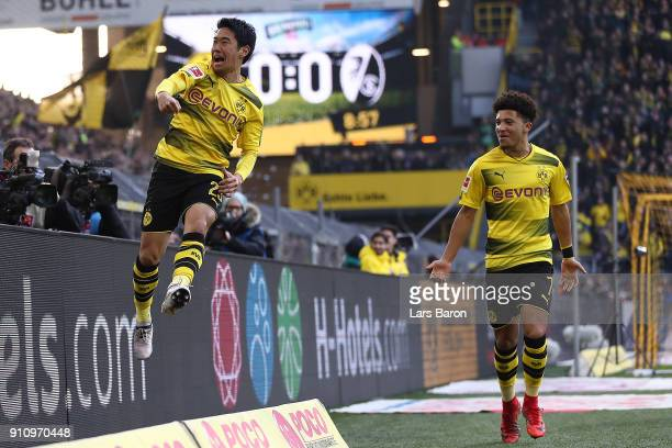 Shinji Kagawa of Dortmund celebrates after he scored a goal to make it 1:0 during the Bundesliga match between Borussia Dortmund and Sport-Club...
