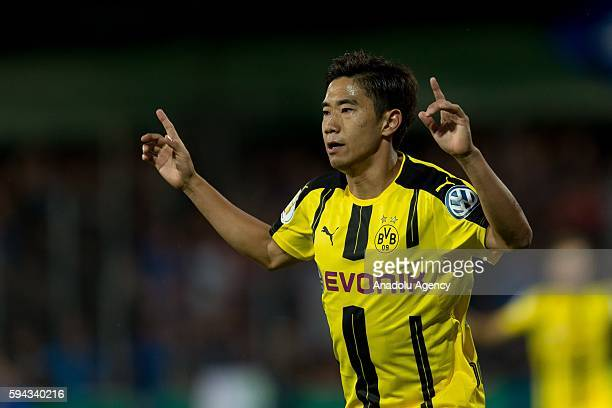 Shinji Kagawa of Dortmund celebrates after scoring during the DFBPokal match between Eintracht Trier and Borussia Dortmund at Moselstadion in Trier...