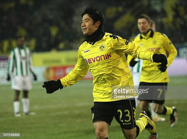 Shinji Kagawa of Dortmund celebrates the first goal during the UEFA Europa League group J match between Borussia Dortmund and Karpaty Lviv at Signal...