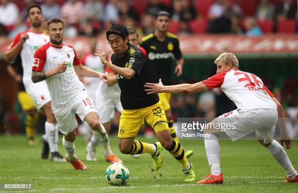 Shinji Kagawa of Dortmund during the Bundesliga match between FC Augsburg and Borussia Dortmund at WWKArena on September 30 2017 in Augsburg Germany