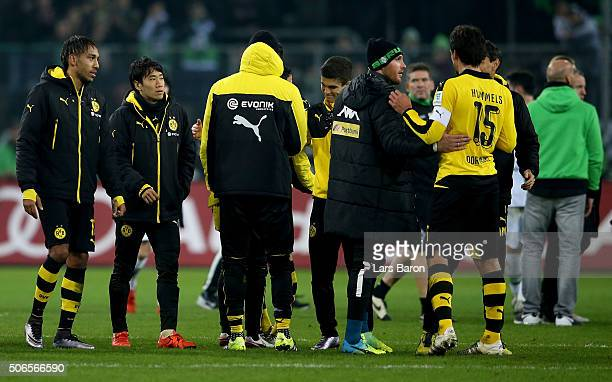 Shinji Kagawa of Dortmund is seen after the Bundesliga match between Borussia Moenchengladbach and Borussia Dortmund at BorussiaPark on January 23...