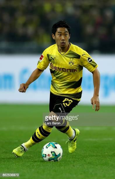 Shinji Kagawa of Dortmund is seen during the Bundesliga match between Borussia Dortmund and Borussia Moenchengladbach at Signal Iduna Park on...