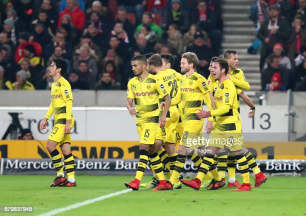 Shinji Kagawa of Dortmund Jeremy Toljan of Dortmund Marcel Schmelzer of Dortmund Andre Schuerrle of Dortmund Mario Goetze of Dortmund and Andrej...