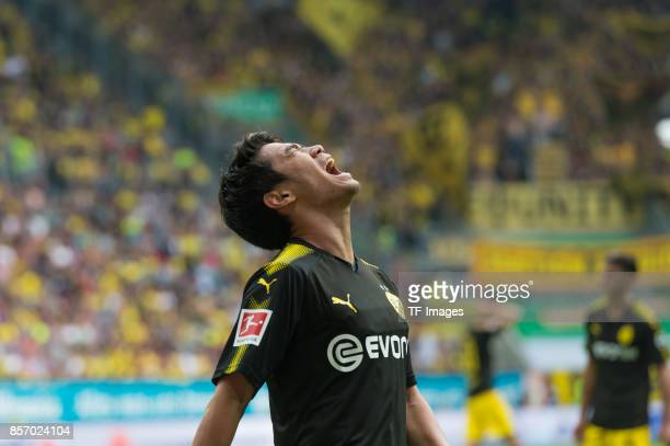 Shinji Kagawa of Dortmund looks on during the Bundesliga match between FC Augsburg and Borussia Dortmund at WWKArena on September 30 2017 in Augsburg...