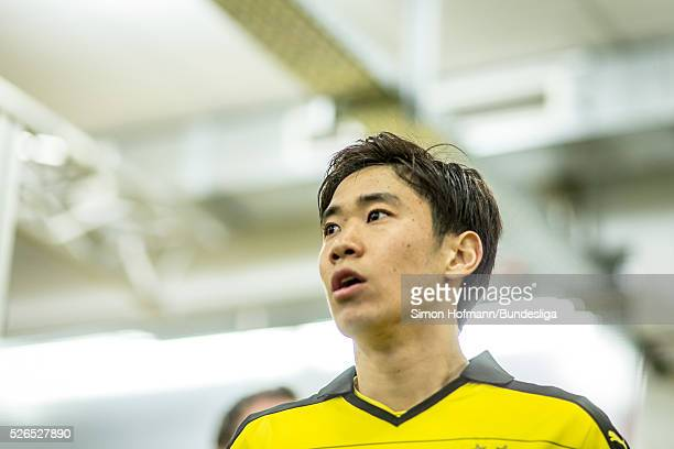 Shinji Kagawa of Dortmund looks on prior to the Bundesliga match between Borussia Dortmund and VfL Wolfsburg at Signal Iduna Park on April 30 2016 in...