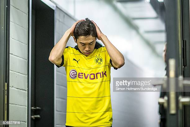Shinji Kagawa of Dortmund reacts prior to the Bundesliga match between Borussia Dortmund and VfL Wolfsburg at Signal Iduna Park on April 30 2016 in...