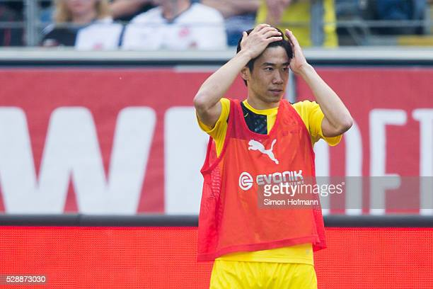 Shinji Kagawa of Dortmund reacts prior to the Bundesliga match between Eintracht Frankfurt and Borussia Dortmund at CommerzbankArena on May 07 2016...