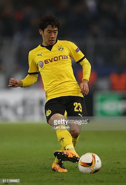 Shinji Kagawa of Dortmund runs with the ball during the UEFA Europa League round of 32 first leg match between Borussia Dortmund and FC Porto at...
