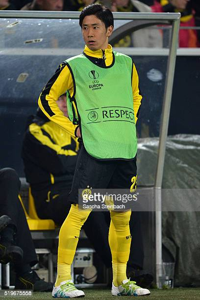 Shinji Kagawa of Dortmund warms up during the UEFA Europa League quarter final first leg match between Borussia Dortmund and Liverpool FC at Signal...