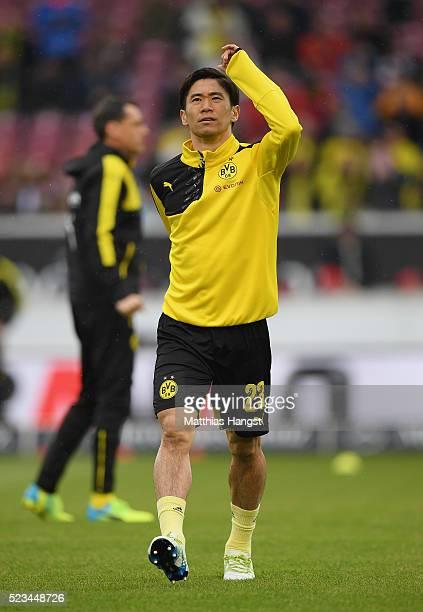 Shinji Kagawa of Dortmund warms up prior to the Bundesliga match between VfB Stuttgart and Borussia Dortmund at MercedesBenz Arena on April 23 2016...